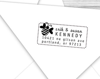 Custom address stamp with buzzing bumble bee--124TS