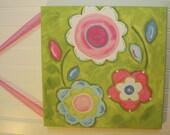 "12 x 12 ""flowers of spring"" Baby nursery decor Children wall art Nursery art paintings Kid girls room decor Nursery wall art pink green aqua"