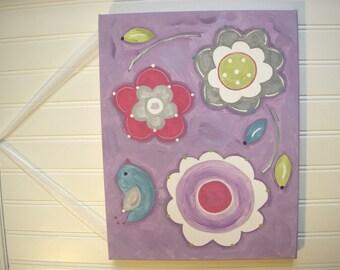 Girls canvas painting Flowers Bird Original artwork 11 x 14 Baby decor Children wall art Nursery artwork Kid bedroom pink green blue daisy
