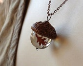 Glass Acorn Necklace in Transparent Light Brown with encased Copper Oak Leaf by Bullseyebeads
