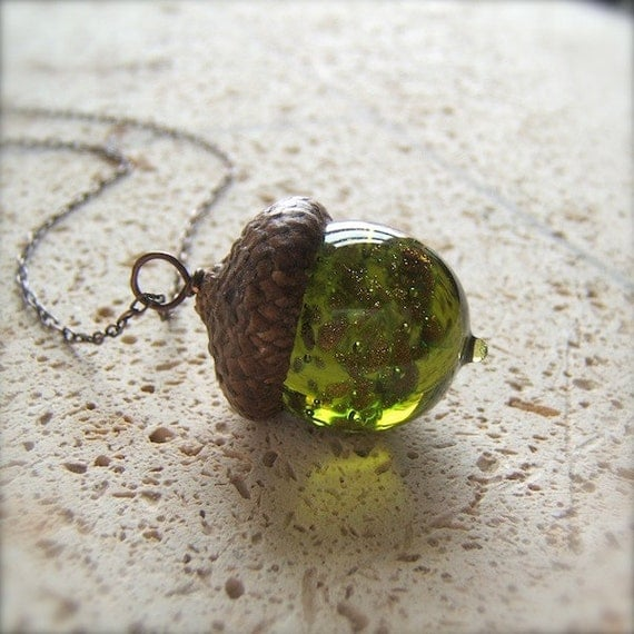 Glass Acorn Necklace in Olivine with encased Goldstone by Bullseyebeads