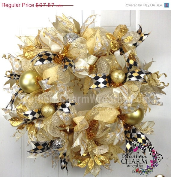 deco mesh christmas wreath for door or by southerncharmwreaths. Black Bedroom Furniture Sets. Home Design Ideas