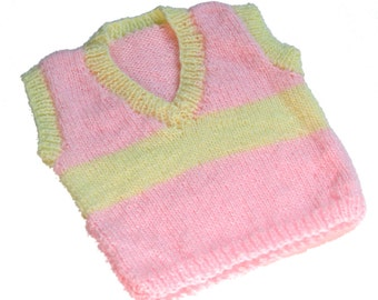 Baby Girl Yellow and Pink Striped Vest VNeck