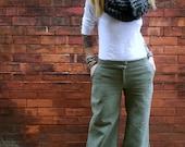 Wide Leg Cool Weather Green Grey Pant~Low Rise Pants~Trouser Pockets~Loose Fit Leg~Casual Pants~Women Trousers~Cotton Pants~Plus Size Pants