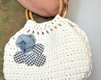 Crochet Handbag With Bamboo Handles