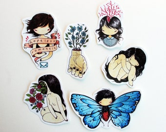 Set of 6 Odd Stickers - Hand cut drawings of girls flowers and butterfly wings