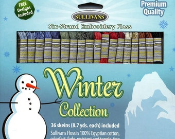 Sullivans Six-Strand Embroidery Floss Pack - Winter Collection, 36 skeins