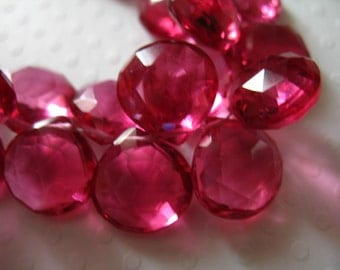 Sale..  2 pcs, PINK QUARTZ Briolettes Beads, Heart, Luxe AAA, 10-11.5 mm, Faceted, wholesale  october september hydqtz50 giant bsc