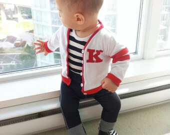"Retro Varsity Sweater Baby Boy Outfit - 50s ""Grease"" Custom Monogram Personalized"