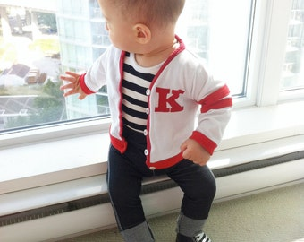 Personalized birthday infant toddler baby varsity jacket retro baby boy outfit personalized baby gift toddler boy outfit toddler letterman jacket negle Gallery