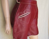 On Reserve for Anne-Marie                             Vintage 50s Heidi Red Leather Heart Pocket Shorts (M/L)