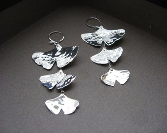 3 Tier Cascading Hammered Ginkgo Leafs in Sterling
