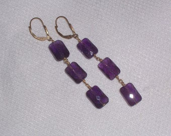 Handmade Amethyst Earrings With Gold Fill Ear Wires and Wire Wrapped