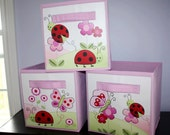Set of 3 Pink Love Bug Girls Fabric Bins Bedroom Baby Nursery Organizer for Toys or Clothing