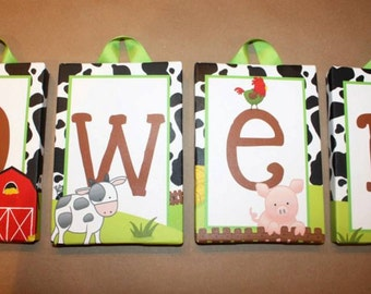 Priced Per Letter - 5x7 Farm Barnyard Stretched Canvas - Available in ANY theme from our shop PCS002