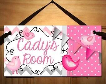 Grey and Pink Birdies Girls Bedroom Baby Nursery Kids Bedroom DOOR SIGN Wall Art DS0259