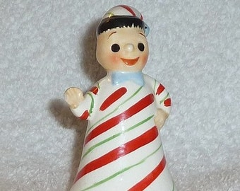 Vintage Lefton Christmas Candy Cane 1950s Pixie Bell Figurine Doll Ornament Boy Red Gree White Napco