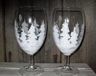 Set of two Winter white pine trees drinking/wine/water/goblets/nature/ Christmas/cottage