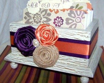 GUEST BOX, Guest Book Box, Advice Box, Ivory Shabby Chic, Plum Purple and Orange Weding, Rustic Wedding, Burlap, Custom colors