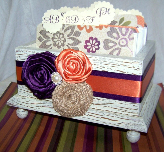 Wedding Guest Book Box - Ivory Shabby Chic, dark Plum and Orange, burlap, Custom colors available