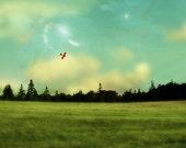 Airplane Decor Landscape Photography Nova Scotia Dreamy Art for the Nursery Amelia Earhart Red Airplane 5x5 PRINT - Flight of Dreams
