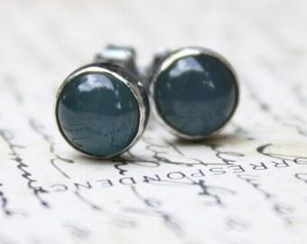 Blue Chalcedony Earrings Sterling Silver Rustic