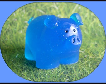 PIG SOAP - BLUEBERRY Scent - Fresh Fruit - Kids Soap - Farm Animal - Hand Made - Glycerin - Detergent Free - Custom Orders Available Too!