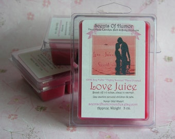 LOVE JUICE Scented Soy Wax Melts - Wickless Candle - Tarts - Sexy - Romantic - Highly Scented - Hand Poured - Valentines Day - Gift