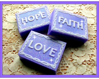 LOVE HOPE FAiTH Soap Set - Lavender Flowers Scent - Spa Scent - Relaxing - Aromatherapy - Lavender & White - Limited Edition - Gift