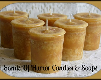BRANDIED PEAR Scented Votive Candles - Handmade Votive Candle - Highly Scented - Set Of 6 In Gift Box - Hand Poured In USA
