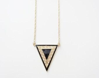 SALE: Black Geo Pendant Necklace