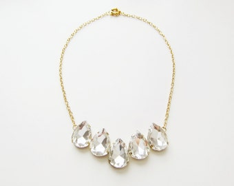 Crystal Teardrop & Gold Chain Necklace