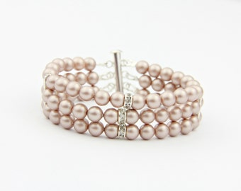 Blush Pearl Bracelet Swarovski Bridal Bracelet Wedding Jewelry Cuff Bracelet Bridal Bridesmaid Jewelry