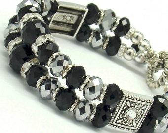 Double Strand Bracelet, Black Bracelet, Crystals Bracelet, Antique Silver Plated,Evening Jewelry