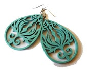 Aqua Blue Teardrop Phoenix Wooden Earrings, light weight, light blue