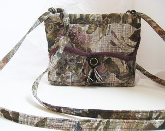Floral Purse, Tapestry Bag, Purple Handbag, cross-body bag, Bag with coin purse