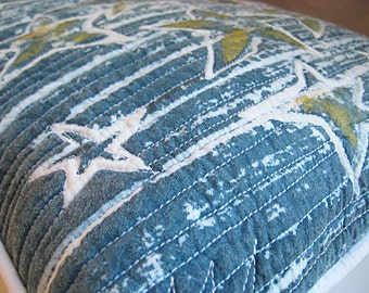 Stars on blue, Pillow with stars, blue and white primitive pillow, shabby decor, cottage chic toss
