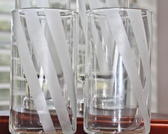 Etched Stripe Drinking Glass