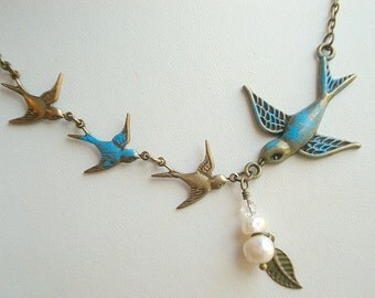 Bird Necklace Blue Bird Necklace Mom Child Necklace Pearl Necklace Bird Jewelry Mother Wife Necklace