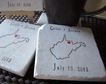 Custom West Virginia State Wedding Favor Coasters - Set of 25