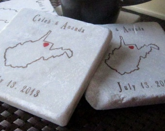 Personalized West Virginia State Outline Coasters - State Pride Home Decor - Absorbent Tile Drink Coasters - Wedding Gift