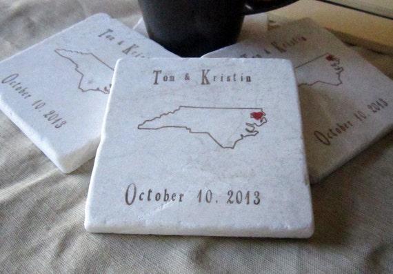 Custom North Carolina Wedding Favor Coasters, Set of 25