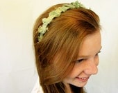 Green Gold Headband Hand Dyed Fabric Wrapped Headband Recycled Fabric Hair decoration Hair  accessory # 30
