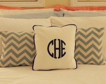 embroidered monogram pillow black monogram on white twill fabric linen sunbrella other colors