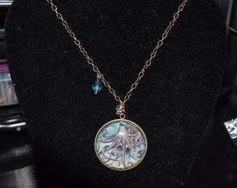 Antique Brass Octopus Pendant Necklace