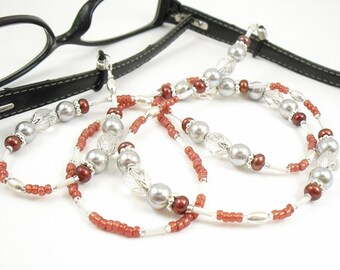 Garnet Freshwater Pearl, Grey Glass Pearl and Clear Sparkly Crystal Glass Eyeglass Lanyard, Eyeglass Leash/Necklace