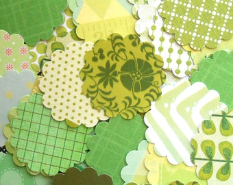 DESTASH - 25 Assorted Green 2 inch Scallop Circle Embellishments