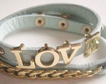 Love Bracelet, vegan leather bracelet, faux leather wrap bracelet, baby blue bracelet, sliding letters wrap bracelet, arm candy
