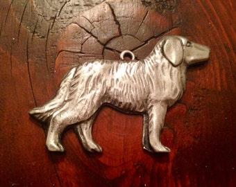 Dog love or Dog healing or missing Dog milagro Tin Silver Ex Voto
