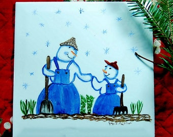 Winter Scene, Dad And Son Snowman Gardener, Ceramic Tile, Whimsical trivet, China Hand Painting,  Home and Living Wall ArtWall Art